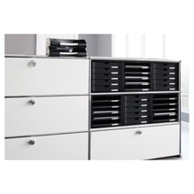 HAN Schubladenbox 1401-13 DIN A4 5Schubfächer PS schwarz/schwarz