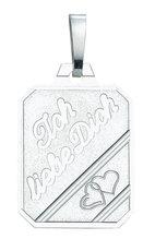 Gravurplatte eckig 925/rh Silber mit Schrift ' Ich liebe Dich', GP 150694