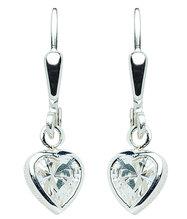 Ohrhänger in Herzform aus Silber mit Zirkonia OS 120284