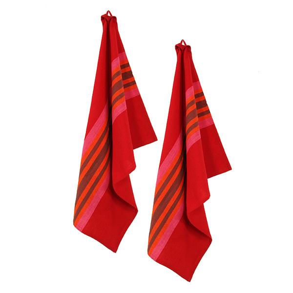 Geschirrtuch Elisa rot mit pink-buntem Streifen Set 2 Gepa fair gehandelt