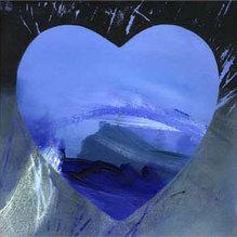 Herz-Motiv blau, HR 301, Kunstdruck, 42 x 42 cm
