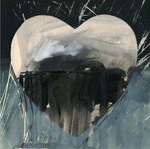 Herz-Motiv grau, HA 302, Kunstdruck, 42 x 42 cm