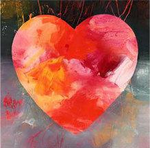 Herz-Motiv rot, HA 303, Kunstdruck, 42 x 42 cm