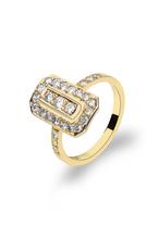 Ring  in 585 Gelb / Weißgold - Handarbeit aus unserer Meisterwerkstatt - mit  Brillanten und Diamanten