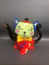 Porzellan-Kanne handgemalt Katze grün/rot