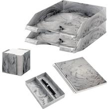 Jalema Schreibtischset Marmor 7438907 5teilig hellgrau