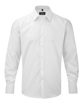 Men´s Long Sleeve Herringbone Shirt (White)