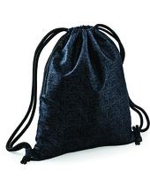 Graphic Drawstring Backpack (Black Geometric)