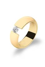 Ring aus hochwertigem Edelstahl -  mit Swarowski  Zirconia -  als Spannring gefertigt - Veredelt mit 585 Gold