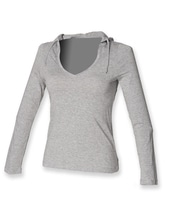 Ladies Long Sleeved Hooded T (Heather Grey)