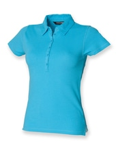 Ladies Short Sleeved Stretch Polo (Surf Blue)