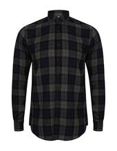 Men`s Brushed Check Casual Shirt (Navy Check)