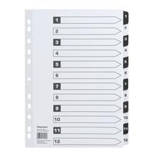 Soennecken Register 1584 DIN A4 1-12 volle Höhe Karton schwarz/weiß