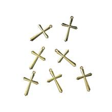 Acryl-Kreuz, 28 mm, SB-Btl. 5 Stück, gold