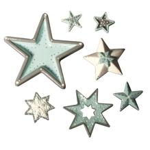 Gießform: Sterne, 7 Motive, ca. 3-13cm, Größe: 23,2x18,3cm