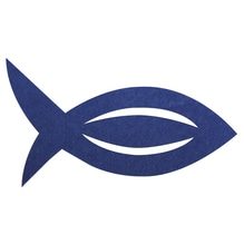 Filz Manschette für Servietten Fisch, 13,5x7,5x0,2cm, SB-Btl 6Stück, royalblau
