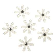 Satin Blüten mit Strass, 1,8cm ø, SB-Btl 60Stück, elfenbein