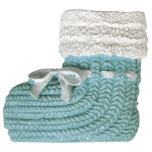Polyresin Baby Schuh, 3cm, SB-Btl 4Stück, babyblau