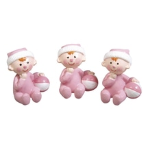 Polyresin Baby Girl, 3x2,5cm, Box 3Stück, babyrosa
