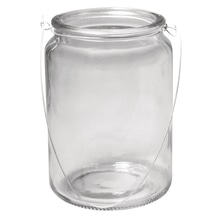Glas Gefäß mit Henkel, 10cm ø, Höhe:14,5,øoben:7,5cm(Öffnung)