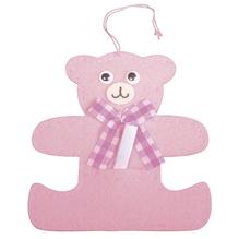 Filz Bär für Message, 10,5x10cm, mit Aufhänger ca. 8,5cm, babyrosa