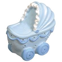 Polyresin Kinderwagen, 3x3x1,5cm, Box 3Stück, babyblau
