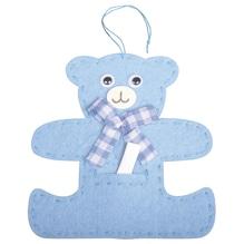 Filz Bär für Message, 10,5x10cm, mit Aufhänger ca. 8,5cm, babyblau