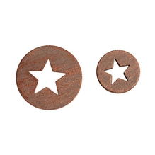 Holz-Streuteile mit Sternausschnitt, 8 St. 2cm/6 St. 3cm, SB-Btl 14Stück, kupfer