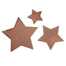 Holz-Streuteile Sterne, 7cm/5cm/3cm, SB-Btl 15Stück, kupfer