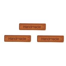 Kunstleder Labels - Handmade, 4x1cm, SB-Btl 3Stück