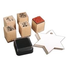 Mini Holz Stempelset Christmas, 5 St.2x2x2,5cm+Zubehör/DS