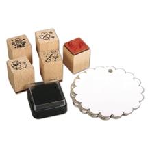 Mini Holz Stempelset New Year, 5 St.2x2x2,5cm+Zubehör/DS