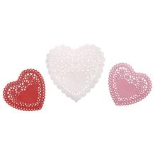 Spitzenpapier Set: Herzen, 10cm+14cm, SB-Btl 60Stück, weiß/pink/rot