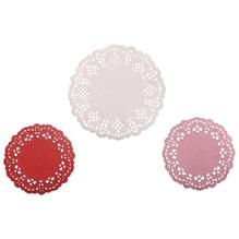 Spitzenpapier Set: Rund, 10cm+14cm, SB-Btl 60Stück, weiß/rot/pink
