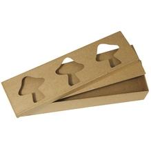Pappmaché Passep.-Box FSC Recycled 100%, 28x8x5cm, 3 Fliegenpilze, rechteck