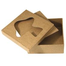 Pappmaché Passep.-Box FSC Recycled 100%, 10x10x4cm, Fliegenpilz, quadrat