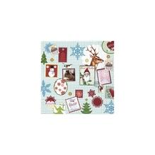 Serviette Xmas Stamps, FSC Mix Credit, 33x33cm, Beutel 20Stück
