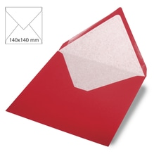 Kuvert quadratisch, uni,FSC Mix Credit, 140x140mm, 90g/m2, Beutel 5Stück, kardinalrot
