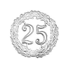 Zahlenkranz, Pappe, 18cm ø, silber,  25