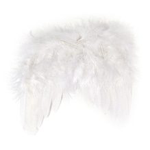 Engelflügel aus Federn, 20 cm, SB-Btl. 1 Stück, weiß