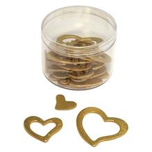 Holzstreuteile: Herzen, 1,5-4,0 cm, Dose 24 Stück, gold