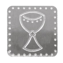 Metall Plättchen: Kelch, m. Klebepunkt, 4x4cm, SB-Btl 8Stück
