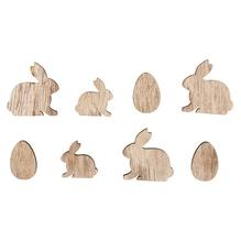 Holz-Streuteile Hasen und Eier, 2-3cm sortiert, SB-Btl 16Stück
