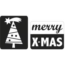 Labels merry X-MAS+Christbaum, 25x30mm, SB-Btl 2Stück