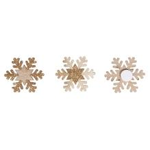 Holz Schneeflocke mit Glitter, 35mm ø, mit Klebepunkt, SB-Btl 12Stück