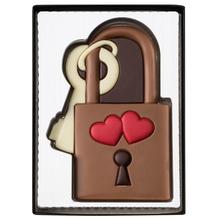"""Weibler Geschenkpackung 'Liebesschloss"""" Vollmilch-Schokolade, 80 g"""