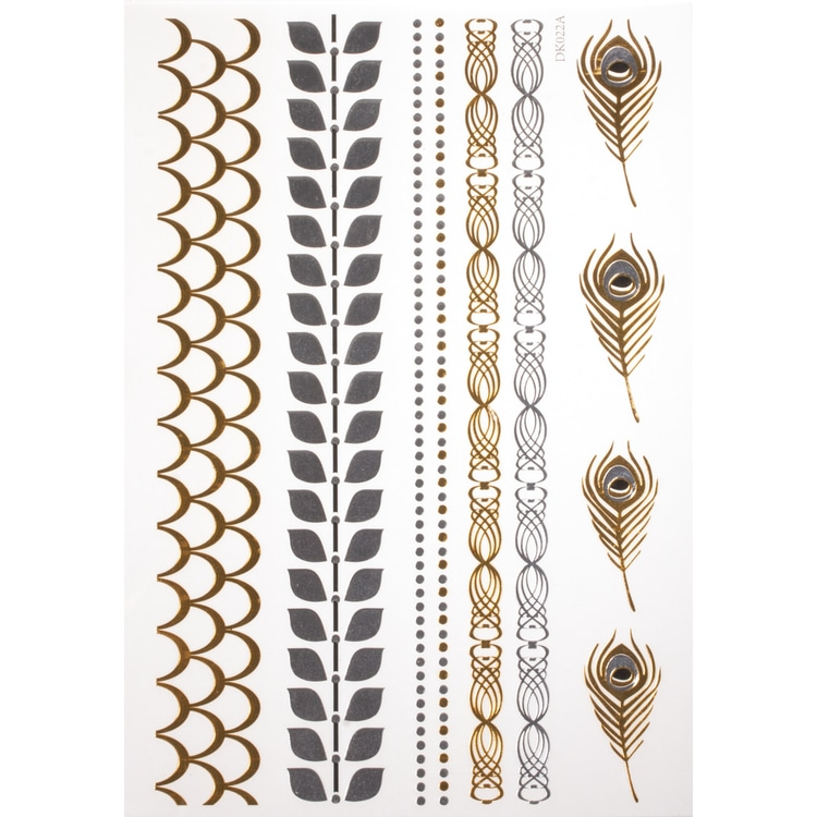 Schmuck Tattoos- gold, silber, schwarz, 14x21cm, SB-Btl 1Bogen