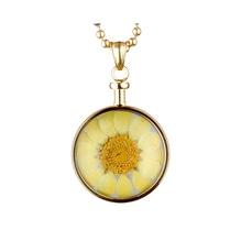 blumenkind® Ketten-Anhänger Blume Edelstahl 316L echte Chrysanthemen-Blüte gold gelb