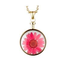 blumenkind® Ketten-Anhänger Blume Edelstahl 316L echte Chrysanthemen-Blüte gold rot