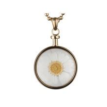 blumenkind® Ketten-Anhänger Blume Edelstahl 316L echte Chrysanthemen-Blüte gold weiß